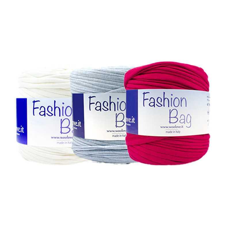 Promozione da 3 pezzi di fettuccia Fashion Bag color - Bianco jeans fucsia