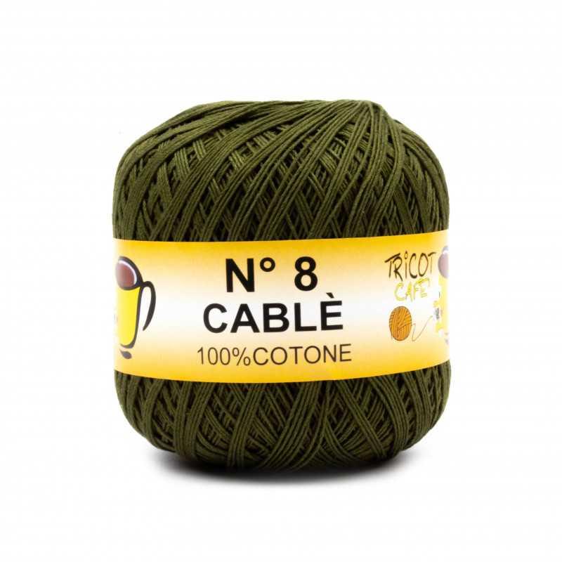 Cable 8 - Filato Puro Cotone mercerizzato antipilling extrabrillante - Verde Oliva 90468