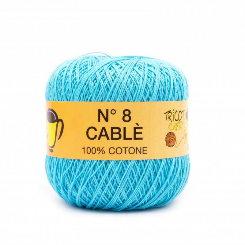 Cable 8 - Filato Puro Cotone mercerizzato antipilling extrabrillante - Turchese 174