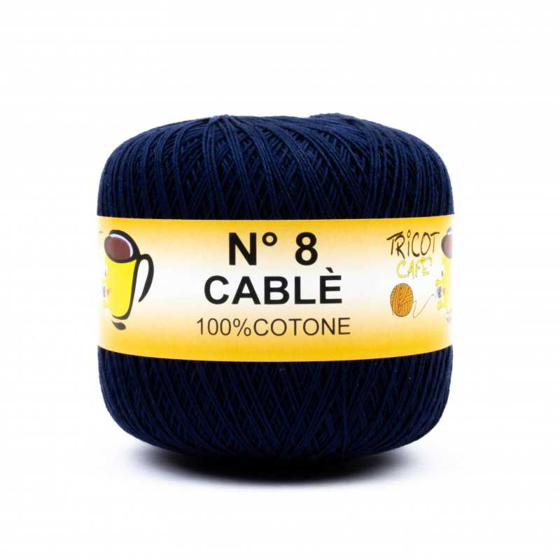 Cable 8 - Filato Puro Cotone mercerizzato antipilling extrabrillante - Blu Notte 87234