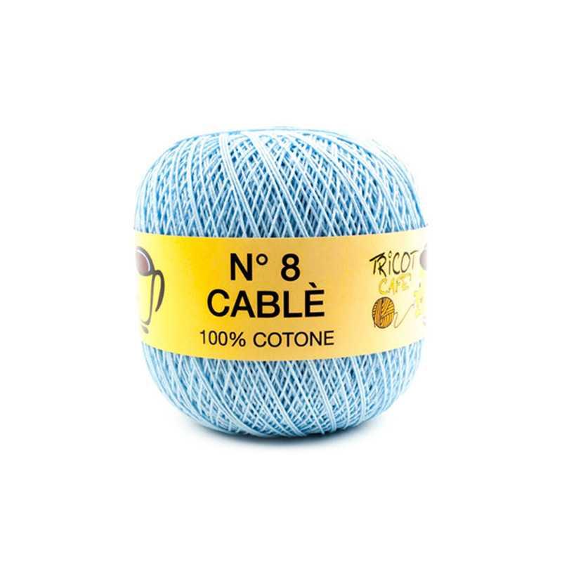 Cable 8 - Filato Puro Cotone mercerizzato antipilling extrabrillante - Azzurro Baby 9367