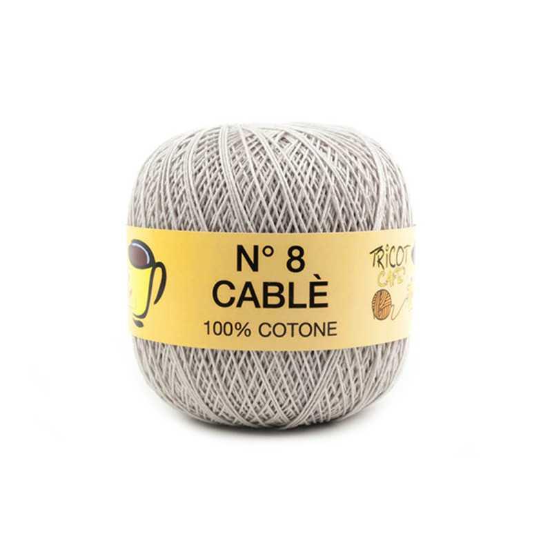 Cable 8 - Filato Puro Cotone mercerizzato antipilling extrabrillante - Grigio Perla 87221