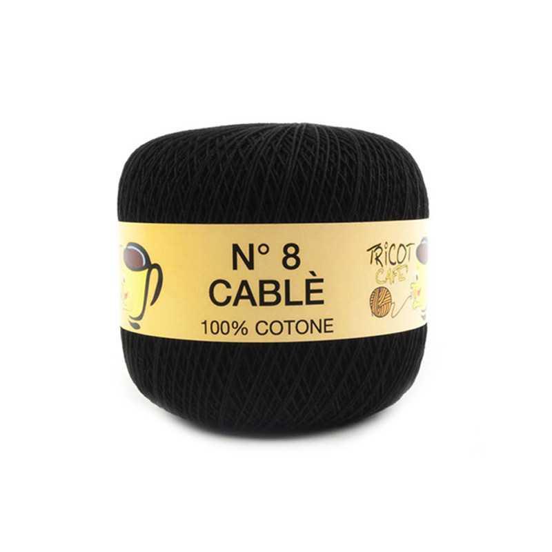 Cable 8 - Filato Puro Cotone mercerizzato antipilling extrabrillante - Nero 200