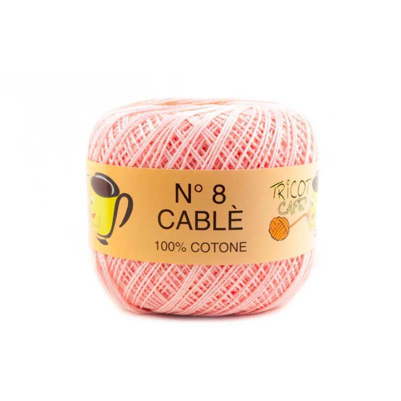 Cable 8 - Filato Puro Cotone mercerizzato antipilling extrabrillante - Rosa baby 16