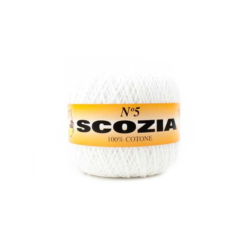 Scozia - Filato puro Cotone n.5 adatto per tutti i tipi di maglieria, centrini, amigorumi - Bianco 01