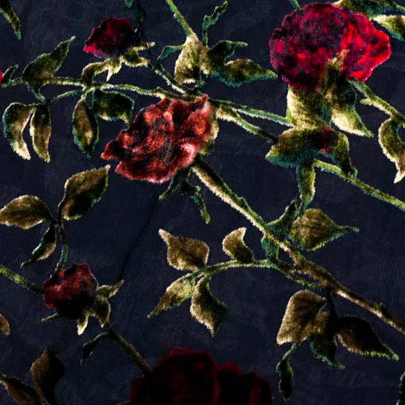 Tessuto Devorè Rose Rosse-Nero