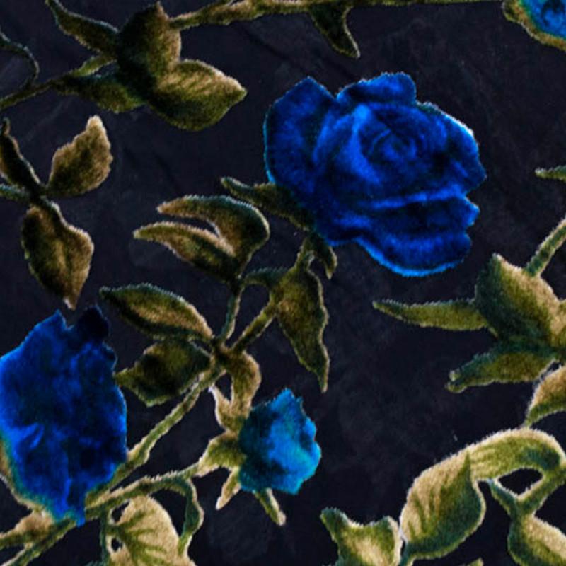 Tessuto al metro Velluto Devorè Rose Blu