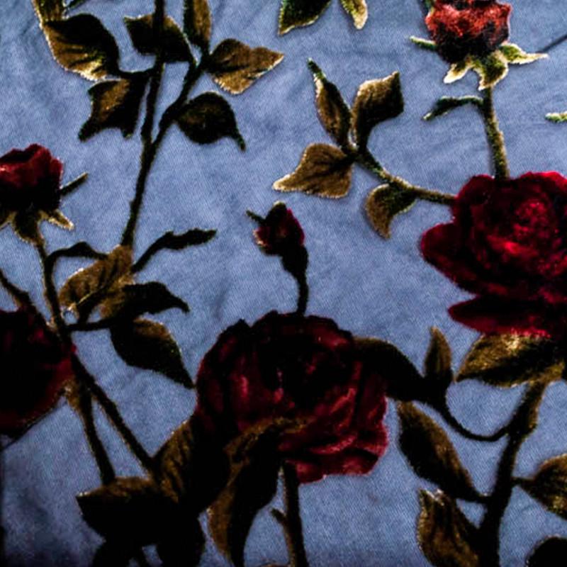Tessuto Devorè Rose Rosse