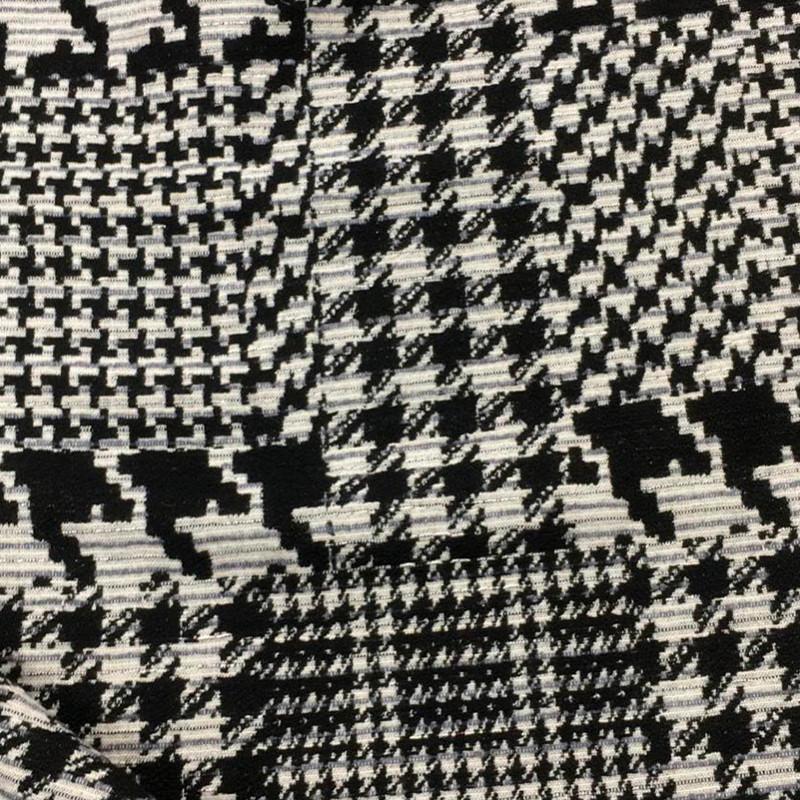 Tessuto tipo Chanel scozzese Bianco-Nero
