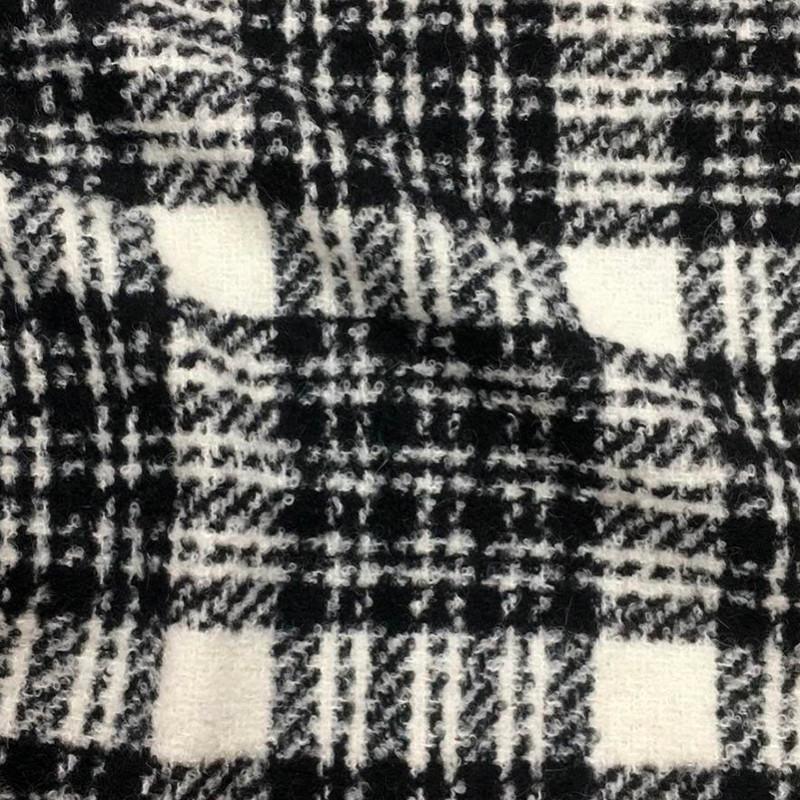 Tessuto Misto lana Scozzese Bianco Nero