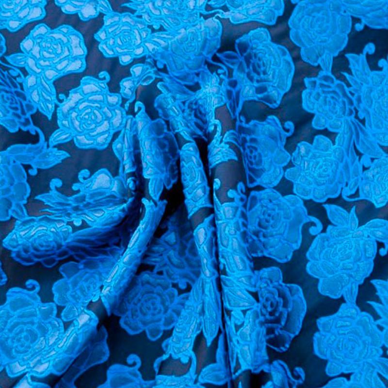 Tessuto Broccato Blu