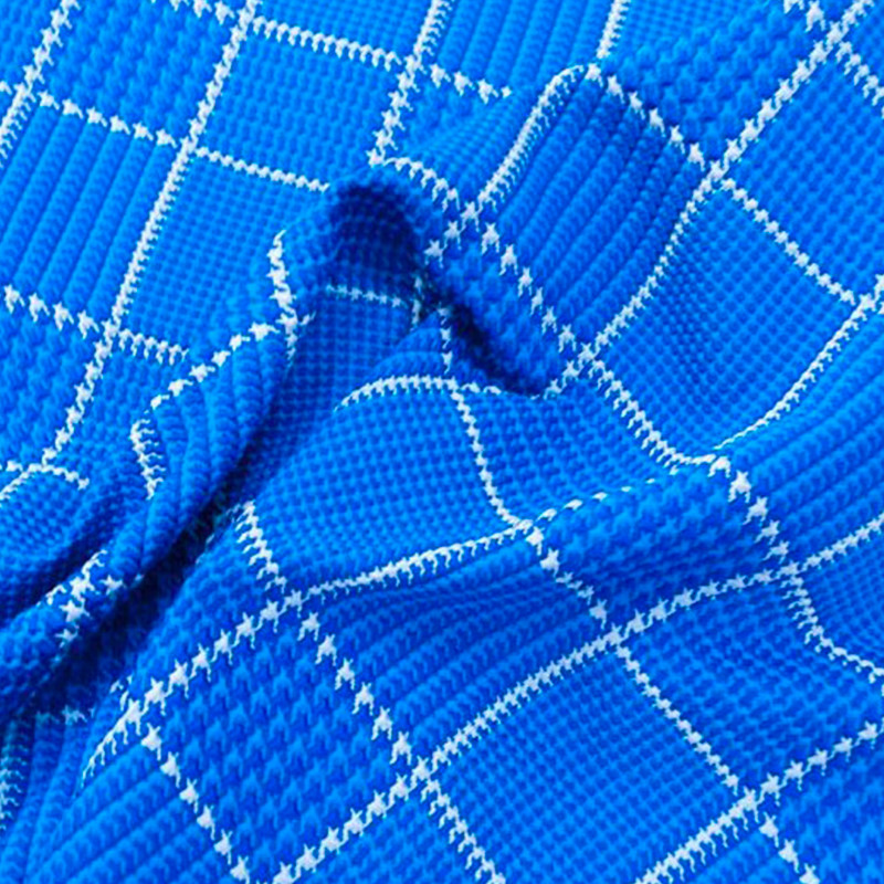 Tessuto Broccato Blu Quadri
