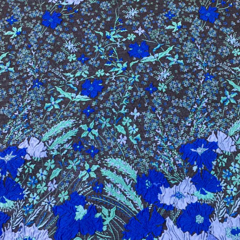 Tessuto Broccato Fiori blu