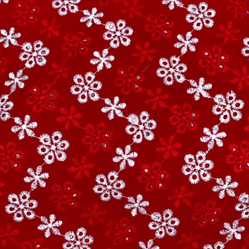 Tessuto al metro Sangallo cotone Rosso Fiori Bianchi