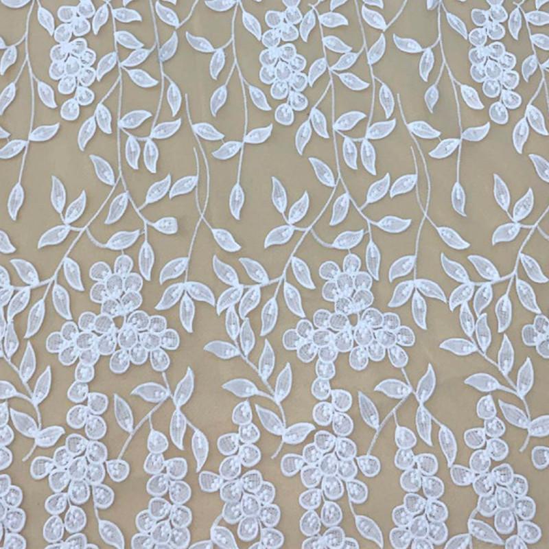 Tessuto Tulle ricamato con fiori Bianco
