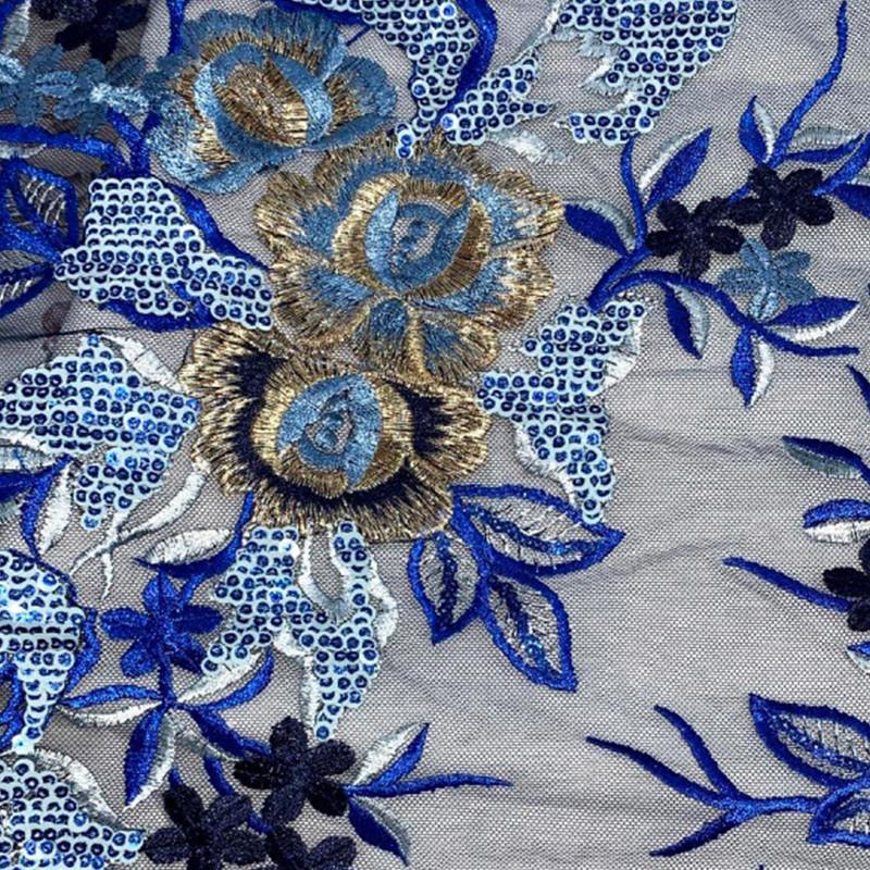 Tessuto Tulle Ricamato Fiori Blu