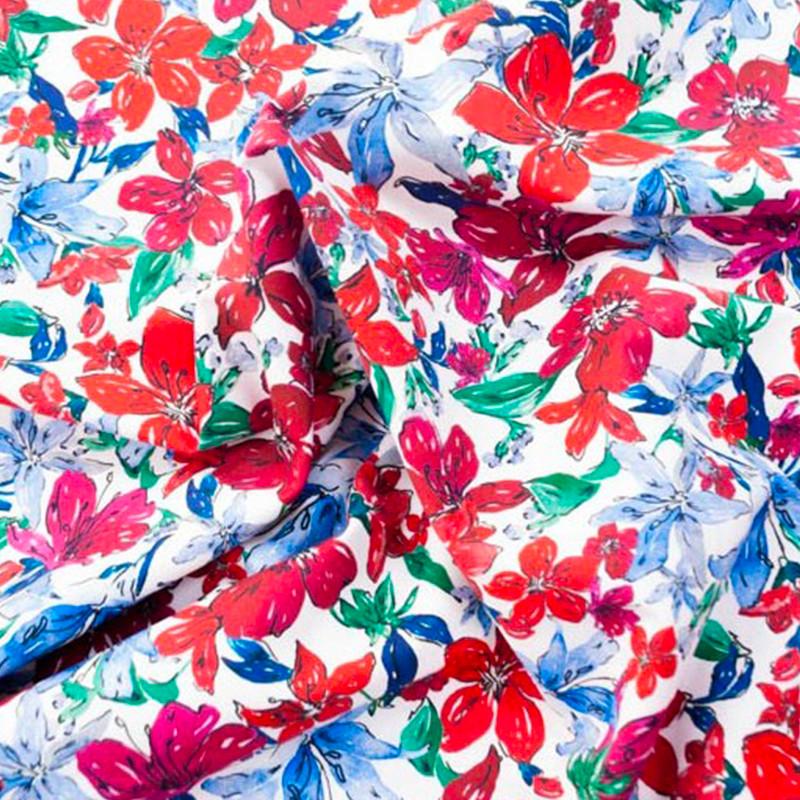 Tessuto al metro Cotone Rosso-Blu Fiori