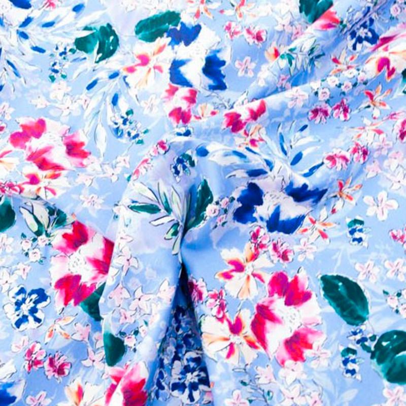 Tessuto Cotone Rosso-Blu Fiori