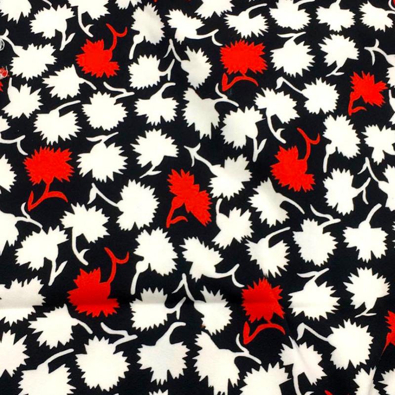Tessuto Misto Cotone Bianco-Nero-Rosso