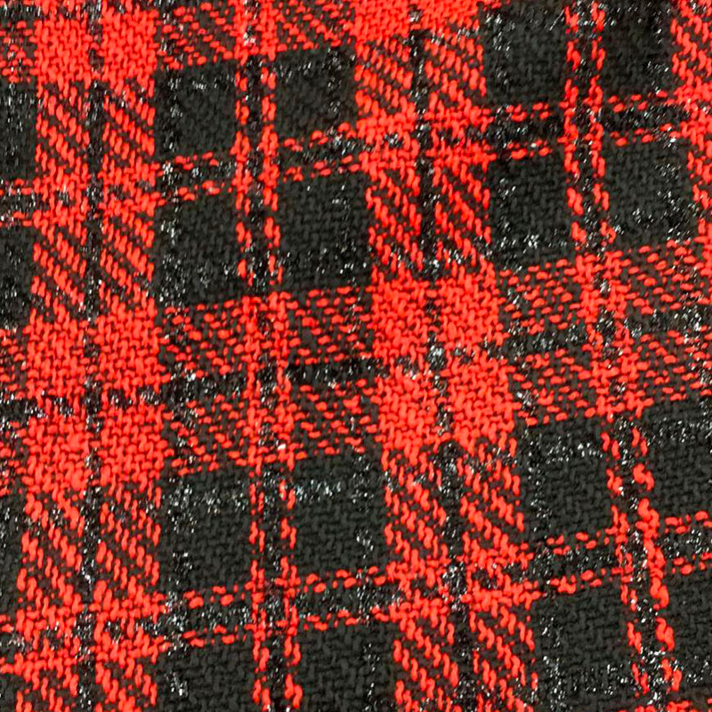 Tessuto tipo Chanel scozzese Rosso-Nero