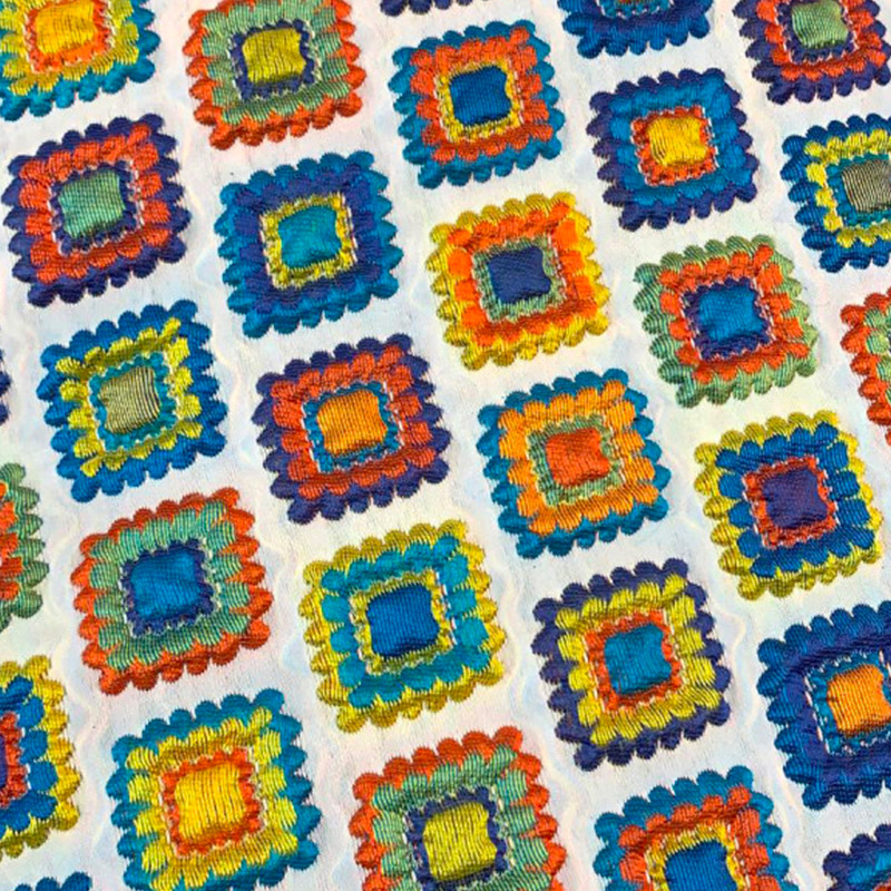 Tessuto Matelasse tipo D&G Bianco - Multicolore