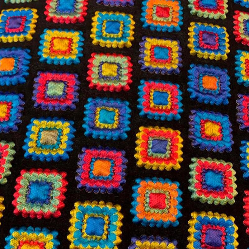 Tessuto Matelasse tipo D&G Nero - Multicolore