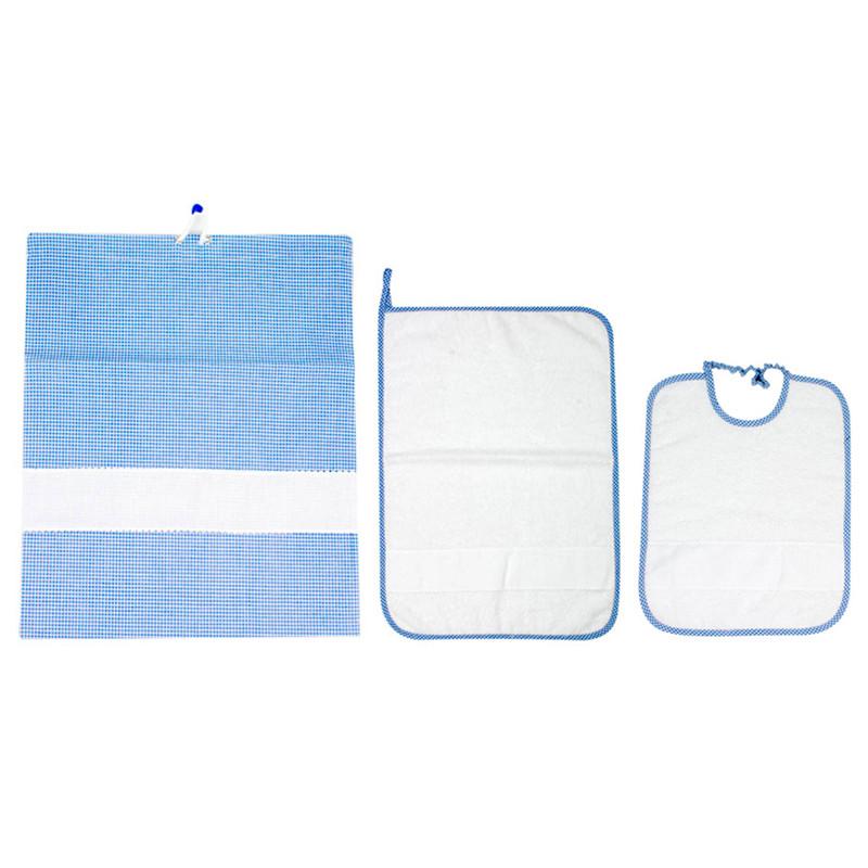 Set asilo Spugna con asciugamano e bavaglino sacchetto in cotone con tela aida da ricamare a punto croce - Azzurro